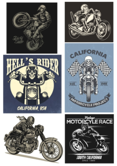 Retro Biker Set Free Vector Cdr