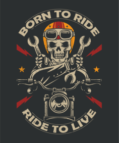 Born To Ride Moto Print Free Vector Cdr