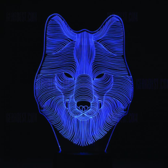 Wolf 3D LED Night Light Free Vector Cdr