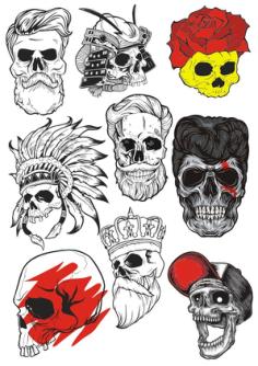 Bearded Skulls Vector Illustration Free Vector Cdr
