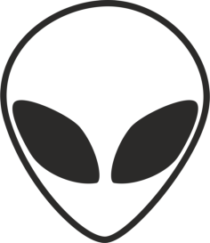 Alien Head Black And White Free Vector Cdr