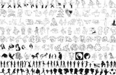 People Silhouette Line Art Vectors Free Vector Cdr