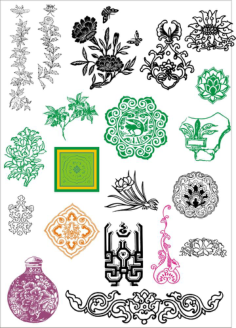 Chinese ancient pattern vectors Free Vector Cdr