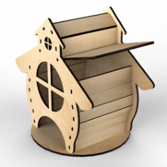 Plywood Tea House Design for Laser Cutting Free Vector Cdr