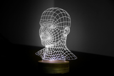 Head 3D LED Night Light Free Vector Cdr