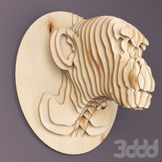 Monkey Head Plywood 3mm Free Vector Cdr
