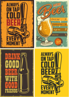Retro Beer Posters 3 Free Vector Cdr