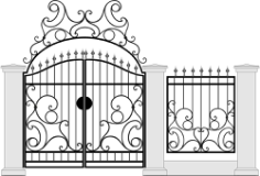 Black Forged Gate Wickets On White Vector Free Vector Cdr
