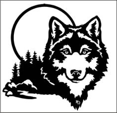 Moonlight Wolf Wall Art Free Vector Cdr
