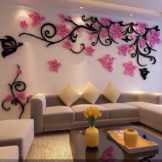 3D Flower Acrylic wall stickers butterflies dancing Free Vector Cdr