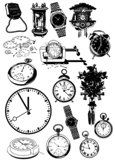 Time Clock And Watch Vector Icon Set Free Vector Cdr