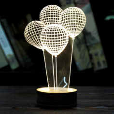 Balloon Shape 3D LED Night Light Free Vector Cdr