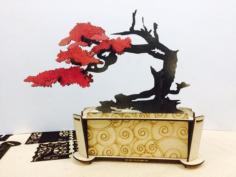 Bonsai Decorative 3D Puzzle Laser Cut Free Vector Cdr