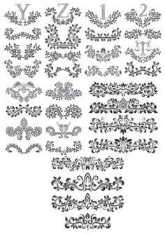 Floral Alphabet Decor Elements Free Vector Cdr