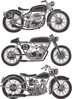 Vintage Motorcycle Set Free Vector Cdr