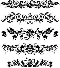 Set of Horizontal Ornaments Free Vector Cdr