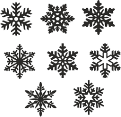 Christmas snowflake icons set vector Free Vector Cdr