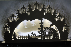 Night Light Scenery Laser Cutting Free Vector Cdr