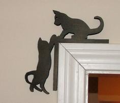 Cute Kitten Silhouette Door Topper Free Vector Cdr