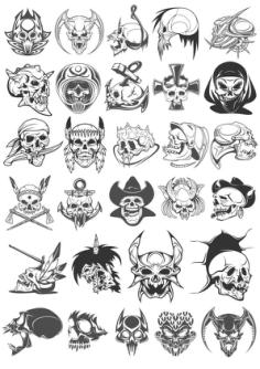Skull Horror Vector Set Free Vector Cdr