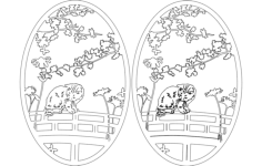 garden cat oval Free Dxf for CNC