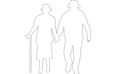 old man and woman walking Free Dxf for CNC