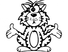 cat cross eyed Free Dxf for CNC
