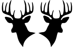 two deer heads silhouette Free Dxf for CNC