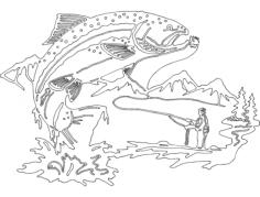 peixe e pescador Free Dxf for CNC