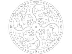 Clock floral design dxf File Format