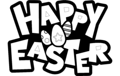 happy easter sign Free Dxf for CNC