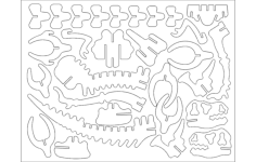 dinota 3d puzzle Free Dxf for CNC