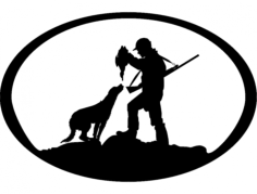 duck hunter n dog oval svg Free Dxf for CNC