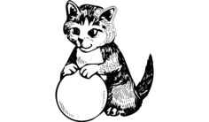 cat with ball Free Dxf for CNC