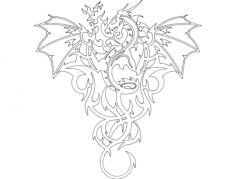 dragon wall Free Dxf for CNC