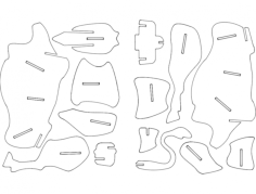 bull 3d puzzle Free Dxf for CNC