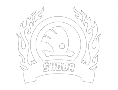skoda logo Free Dxf for CNC