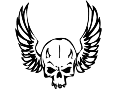 wing skull Free Dxf for CNC