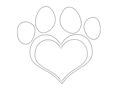 dog paw heart Free Dxf for CNC