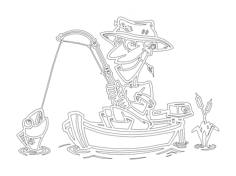 fish fisherman in boat Free Dxf for CNC