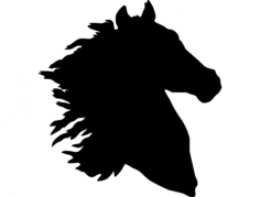 horse head silhouette Free Dxf for CNC