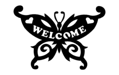 butterfly welcome Free Dxf for CNC