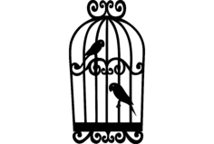 parrots in cage Free Dxf for CNC