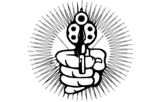 hand with pistol cartoon Free Eia for CNC