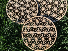 wooden trivet asanoha Free Dxf for CNC