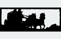 two up horse drawn stagecoach Free Dxf for CNC