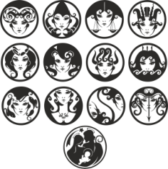 zodiac vector Free Dxf for CNC