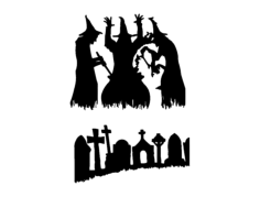 halloween graveyard Free Dxf for CNC