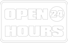 open 24 hours board Free Dxf for CNC
