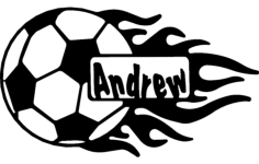 soccer ball with flames and name Free Dxf for CNC